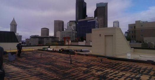 commercial building roof progress